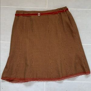 Worthington Fall Brown & Gold Lined Skirt w Belt